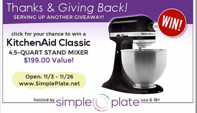 Win a KitchenAid Classic 4.5 Quart Stand Mixer ($199 Value!)