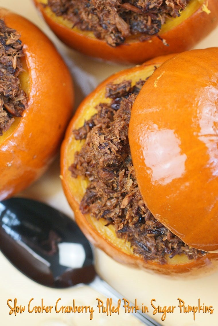 Slow Cooker Cranberry Pulled Pork in Sugar Pumpkins at This Mama Cooks! On a Diet - thismamacooks.com