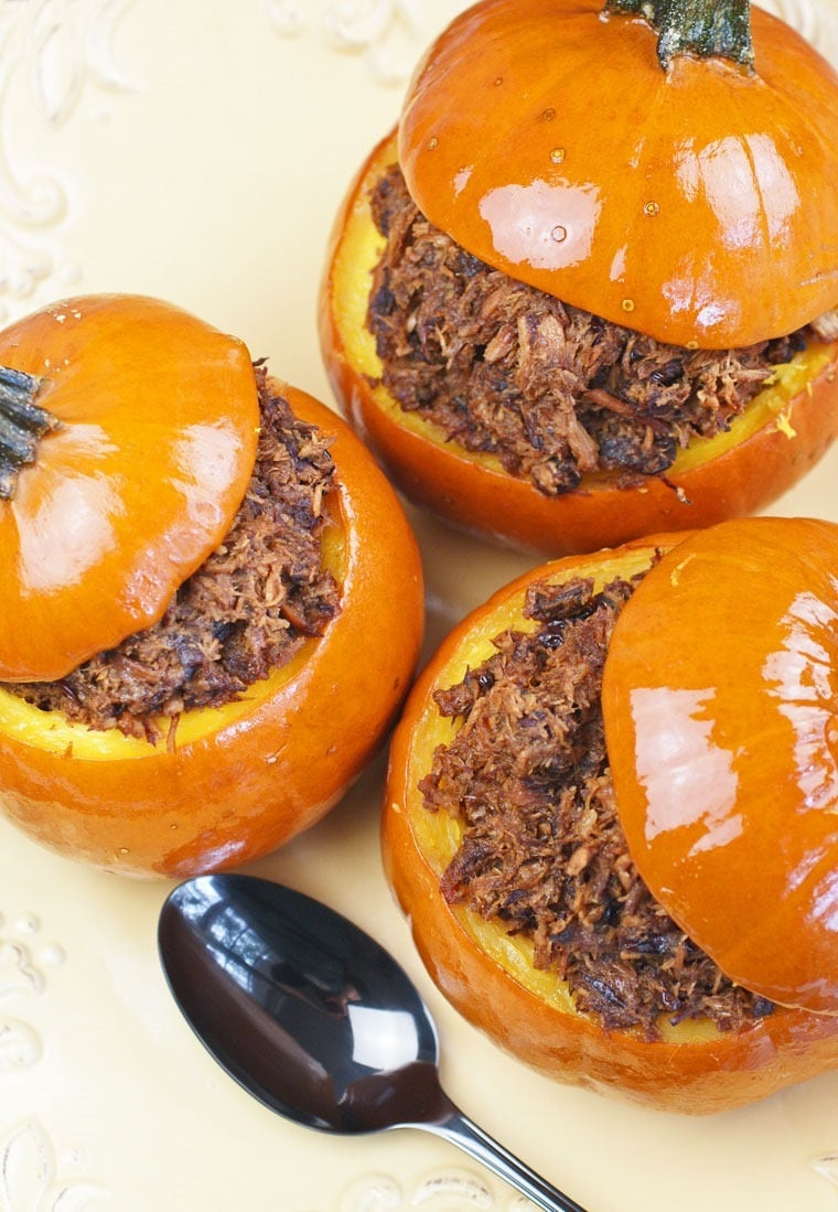 Slow Cooker Cranberry Pulled Pork in Sugar Pumpkins. Get this healthy ...