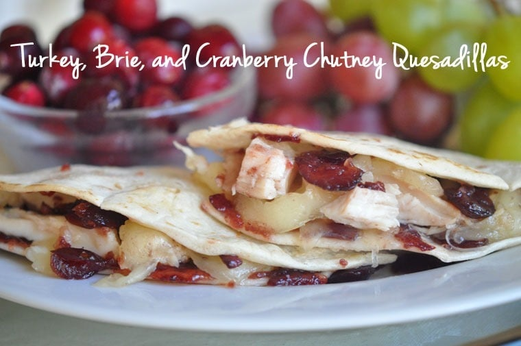 Looking for an easy and healthy Thanksgiving leftover recipe? Check out this Turkey, Brie, and Cranberry Chutney Quesadillas recipe at This Mama Cooks! On a Diet - thismamacooks.com