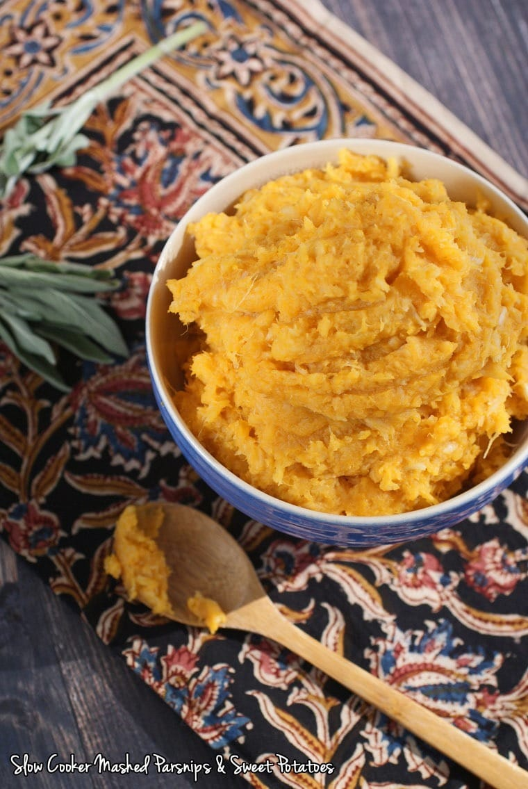Slow Cooker Mashed Parsnips & Sweet Potatoes at This Mama Cooks! On a Diet - thismamacooks.com