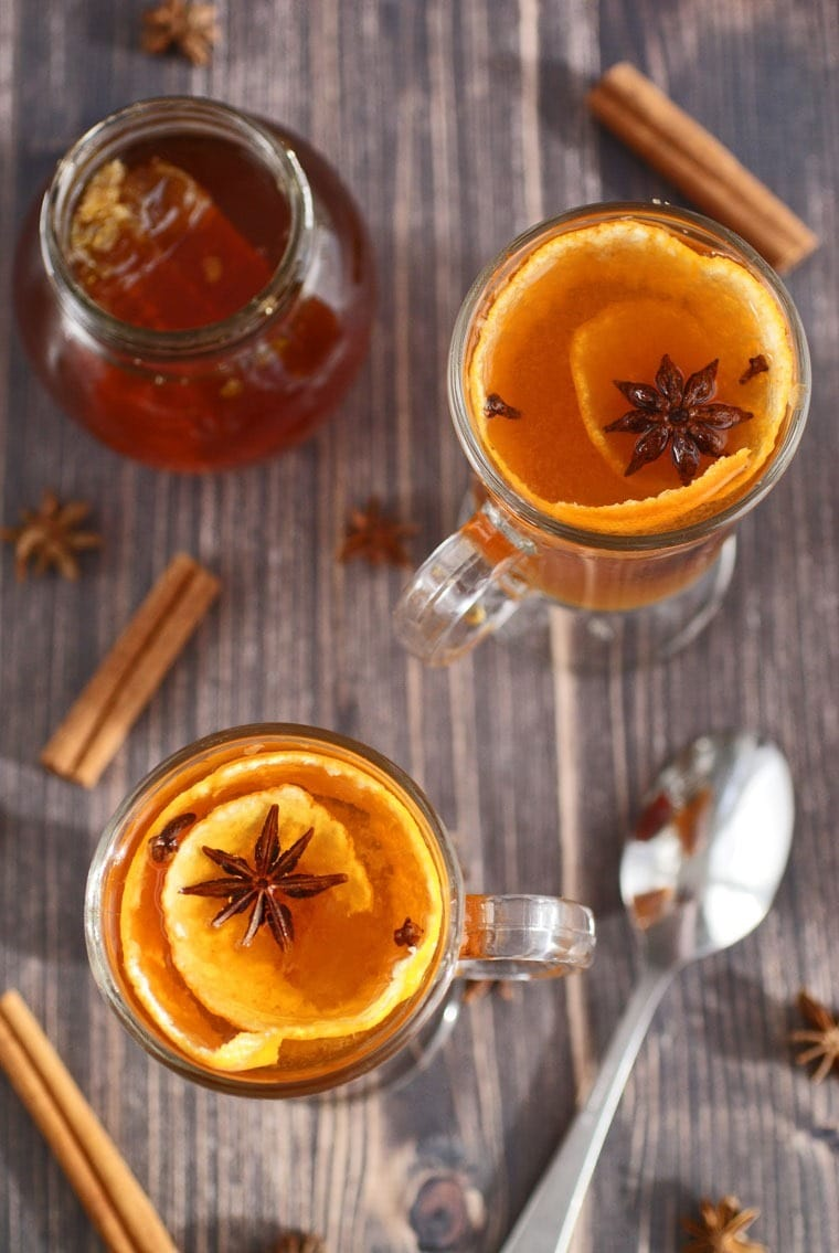 Spiced Citrus & Honey Hot Toddies are terrific for soothing sore throats and colds. Get the recipe at This Mama Cooks! On a Diet -thismamacooks.com