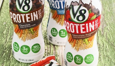 You shoulda hadda V8 Protein Bar and Shake!