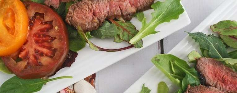 Grilled Flatiron Steak Salad with Yogurt Dressing
