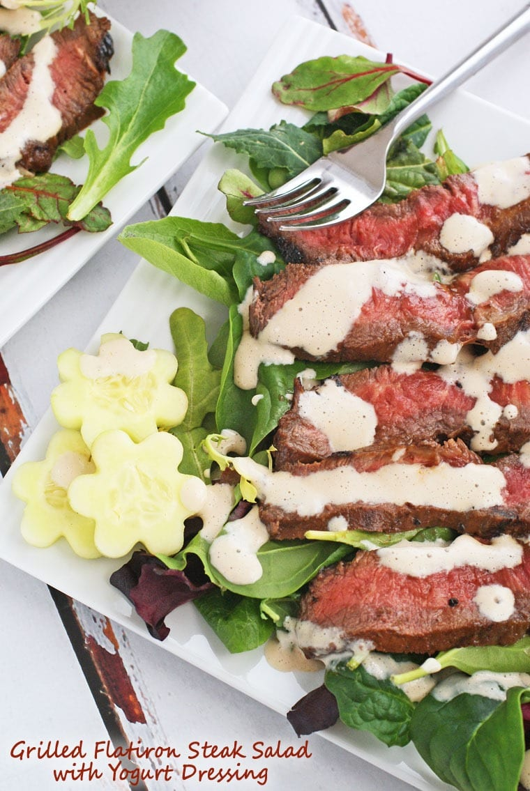 Looking for a romantic recipe for Valentine's Day? Try this Grilled Flatiron Steak Salad with Yogurt Dressing from This Mama Cooks! On a Diet