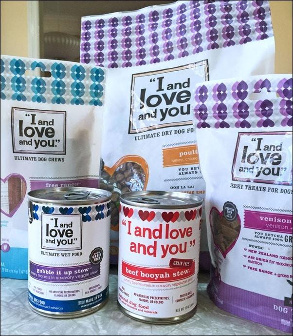 "The ""I and love and you"" dog food products we were sent to try. Learn more at This Mama Cooks! On a Diet"