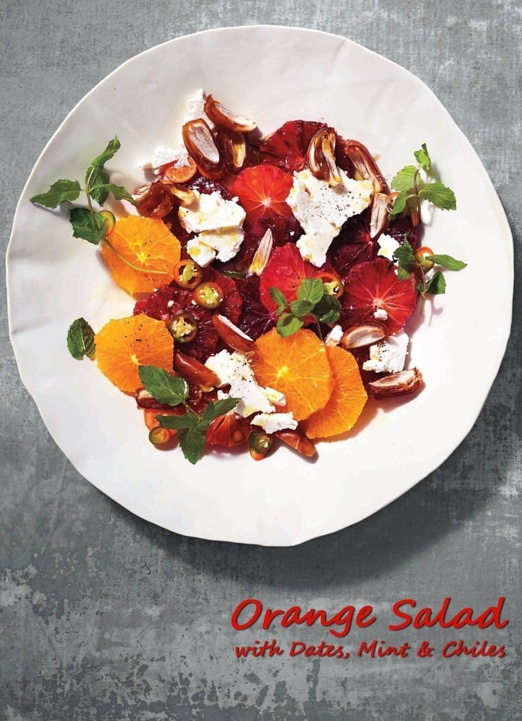 Orange Salad with Dates, Mint & Chiles. Get this healthy, vegetarian fruit salad recipe at This Mama Cooks! On a Diet