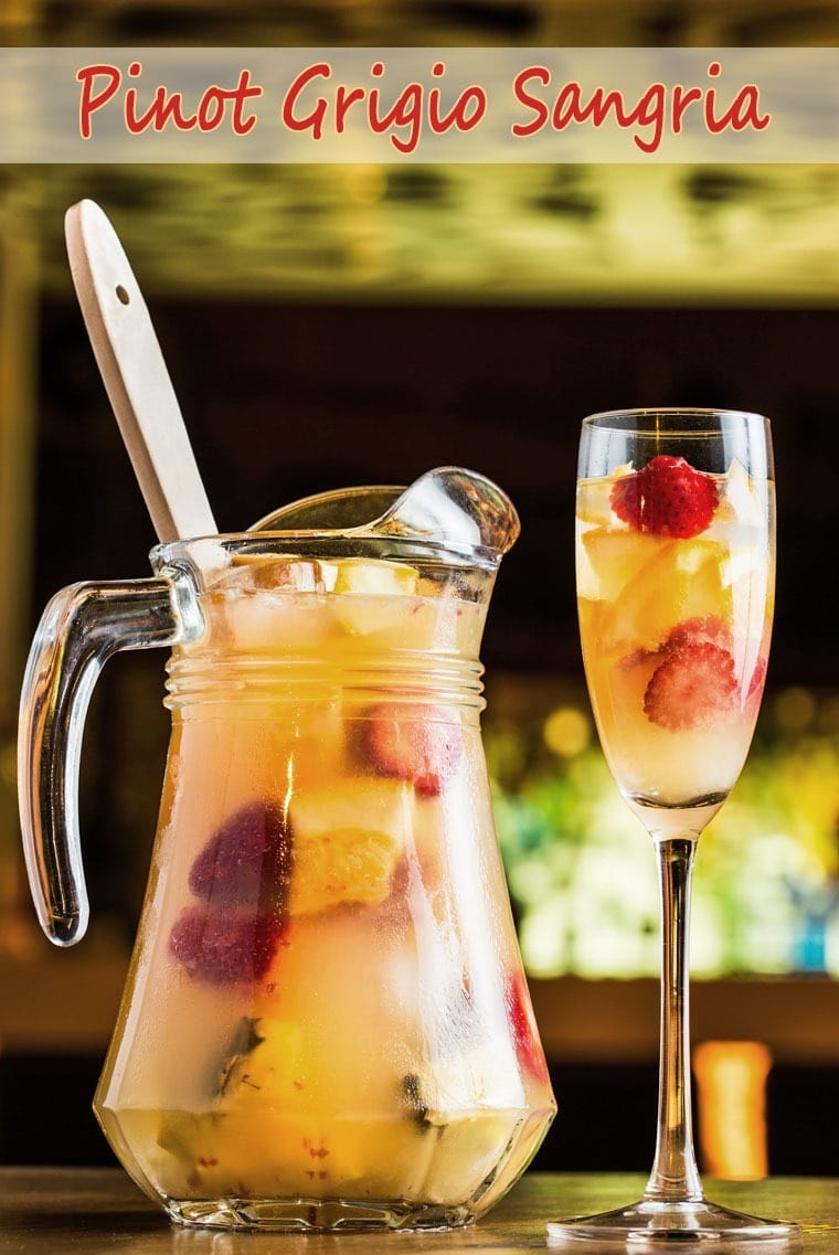 Lightened up your next party with Pinot Grigio Sangria. Get the cocktail recipe at This Mama Cooks! On a Diet - thismamacooks.com