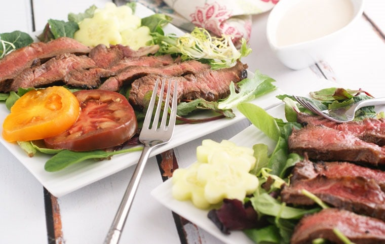 Grilled Flatiron Steak Salad with Yogurt Dressing. Get the recipe at This Mama Cooks! On a Diet