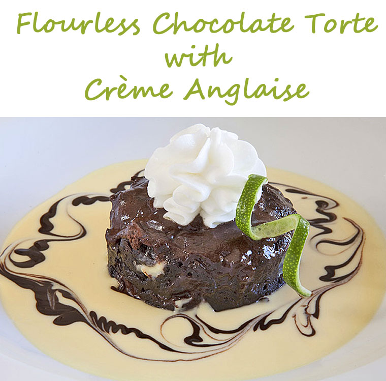 Gluten Free Flourless Chocolate Torte with Crème Anglaise. Get the Valentine's Day recipe at This Mama Cooks! On a Diet
