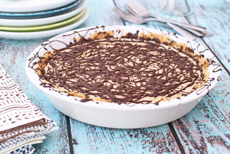 Gluten Free Chocolate & Almond Freezer Pie with rice cake crust. Get the gluten free dessert recipe at This Mama Cooks! On a Diet