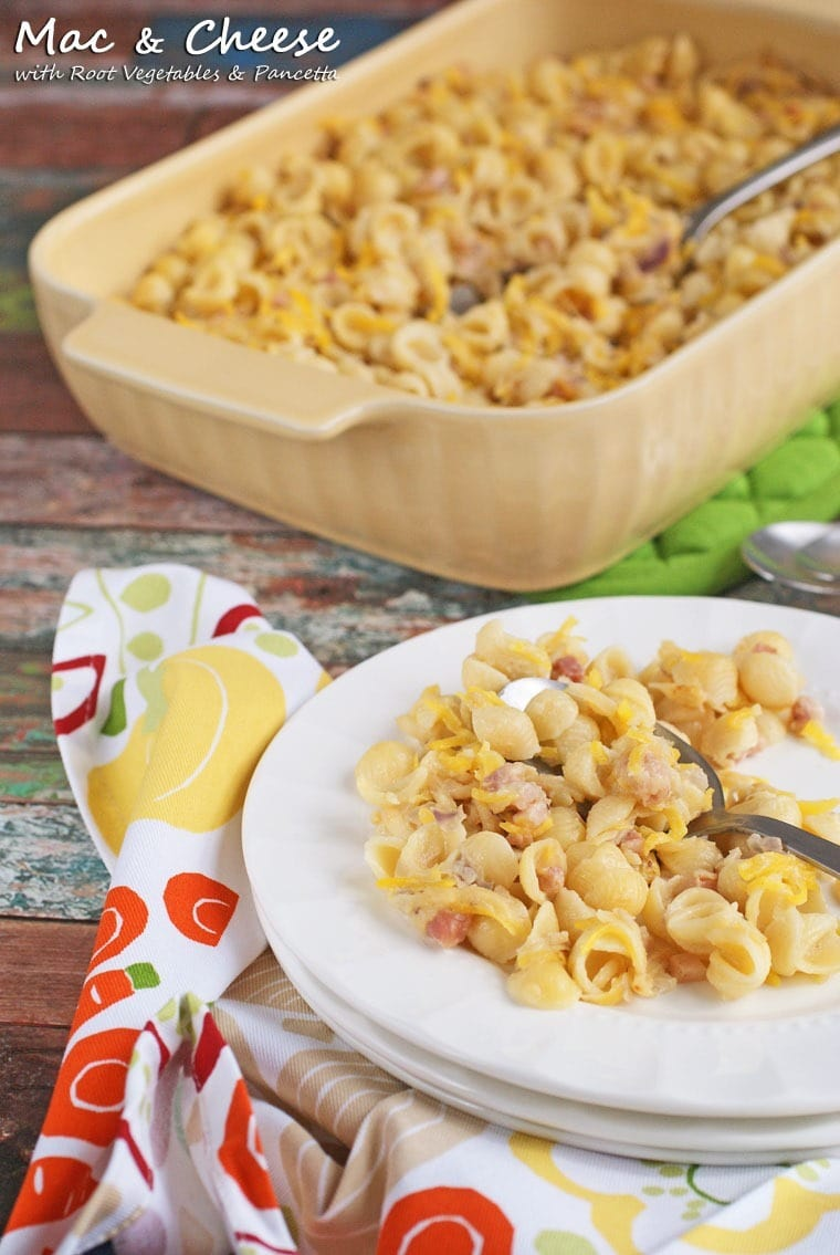 Looking for a healthy casserole dinner recipe? Make this Mac & Cheese Casserole with Root Vegetables & Pancetta from This Mama Cooks! On a Diet