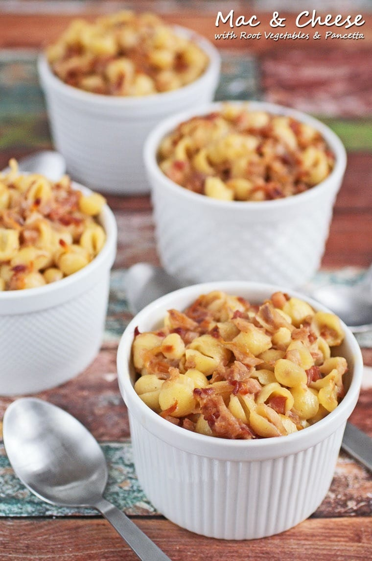 Healthy Mac & Cheese Casserole with Root Vegetables & Pancetta. Get this easy dinner recipe at This Mama Cooks! On a Diet