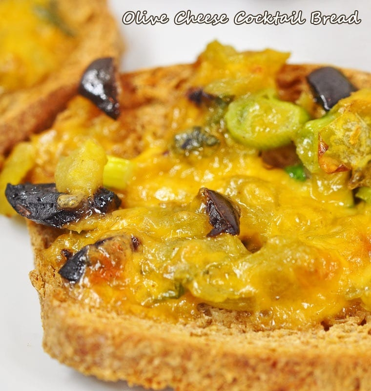 Olive Cheese Cocktail Bread. Freeze a batch ahead a time! Get the party appetizer recipe at This Mama Cooks! On a Diet