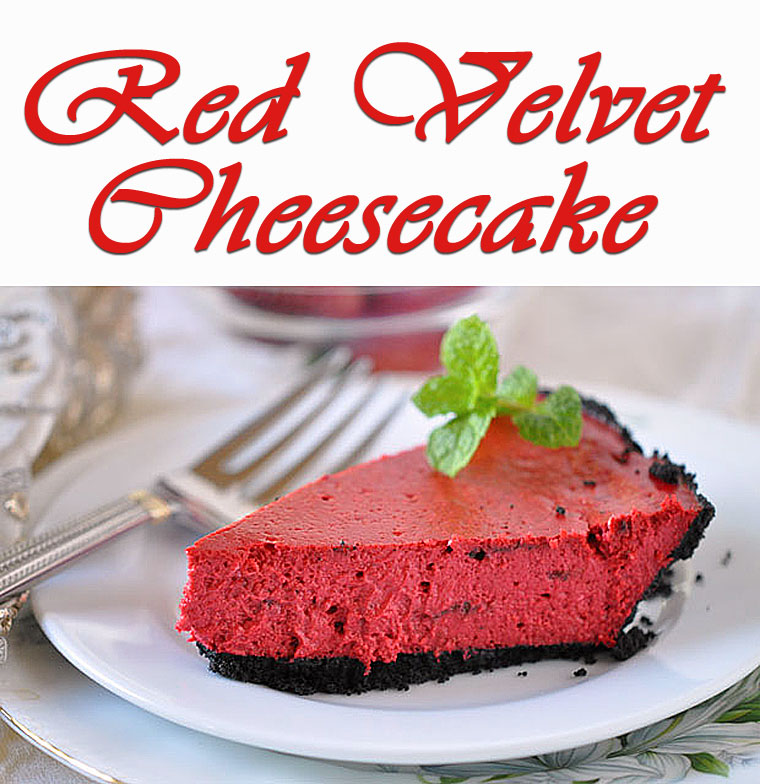 Red Velvet Cheesecake - get the recipe for this healthy holiday dessert at This Mama Cooks! On a Diet