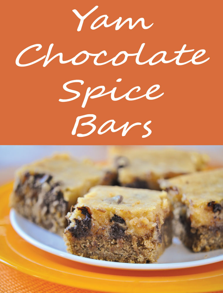 Yam Chocolate Spice Bars. Get the easy dessert recipe at This Mama Cooks! On a Diet