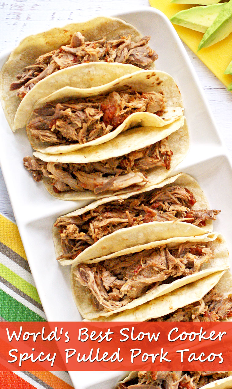 World's Best Slow Cooker Spicy Pulled Pork Tacos. Get the easy and healthy crockpot recipe that's perfect for Family Taco Night from This Mama Cooks! On a Diet
