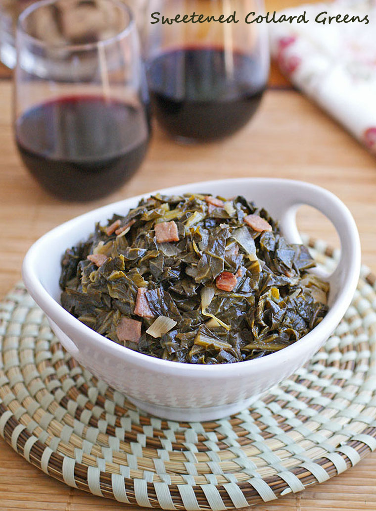 Sweetened Collard Greens based on a recipe from A New Turn in the South by Hugh Acheson. Get the recipe at This Mama Cooks! On a Diet