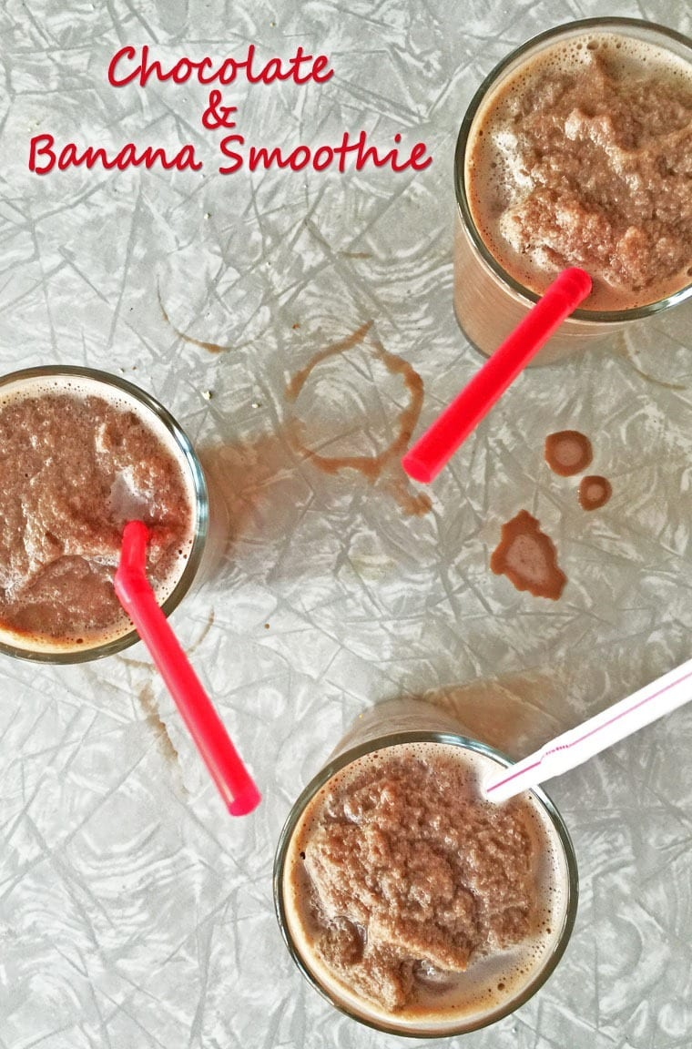 A healthy Chocolate & Banana Smoothie recipe using alternative milk, nut or seed butter, and ice cubes instead of ice cream. Get the recipe at This Mama Cooks! On a Diet.