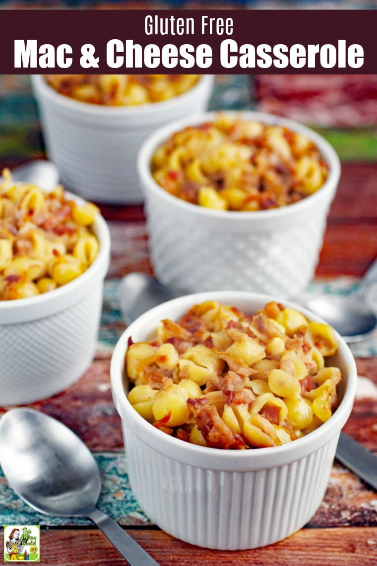 This Gluten Free Mac & Cheese Casserole can be made in less than 30 minutes. That's because it's made with your favorite boxed gluten free mac n cheese. This easy baked macaroni and cheese recipe will quickly become a family favorite. #glutenfree #glutenfreerecipes #dinner #easydinner #dinnerrecipes #macaroni #macandcheese #pasta #pastafoodrecipes #pastarecipes #casserole #casserolerecipes #30minutemeals