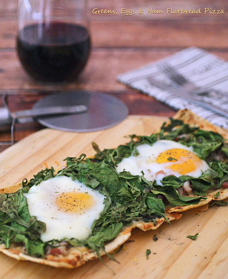 Greens, Eggs & Ham Flatbread Pizza. Perfect for parties or breakfast for dinner, get the recipe at This Mama Cooks! On a Diet.