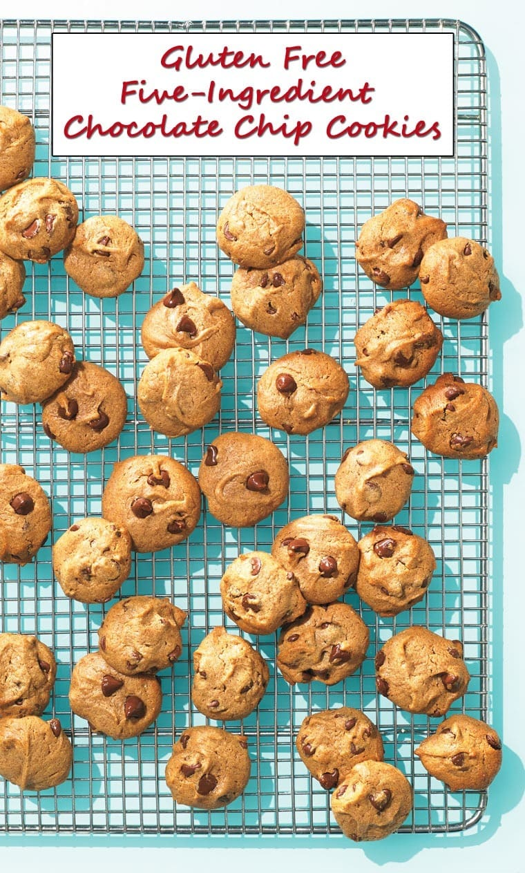 Gluten Free Five-Ingredient Chocolate Chip Cookies - get the easy to make recipe at This Mama Cooks! On a Diet
