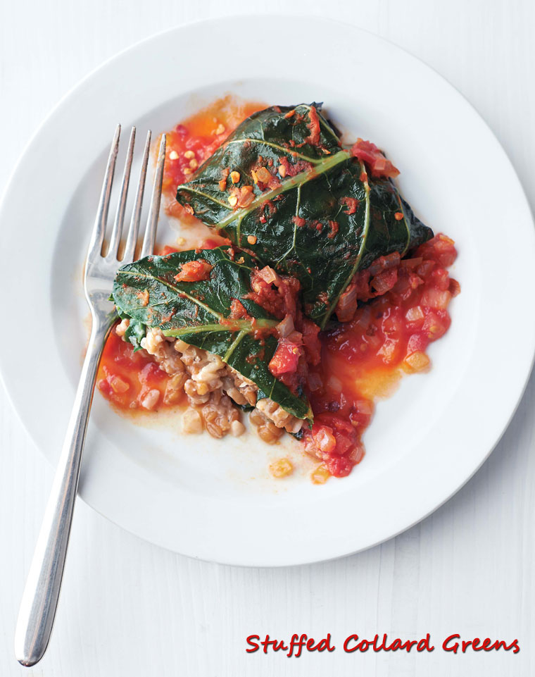 Get the healthy vegetarian recipe for Stuffed Collard Greens at This Mama Cooks! On a Diet