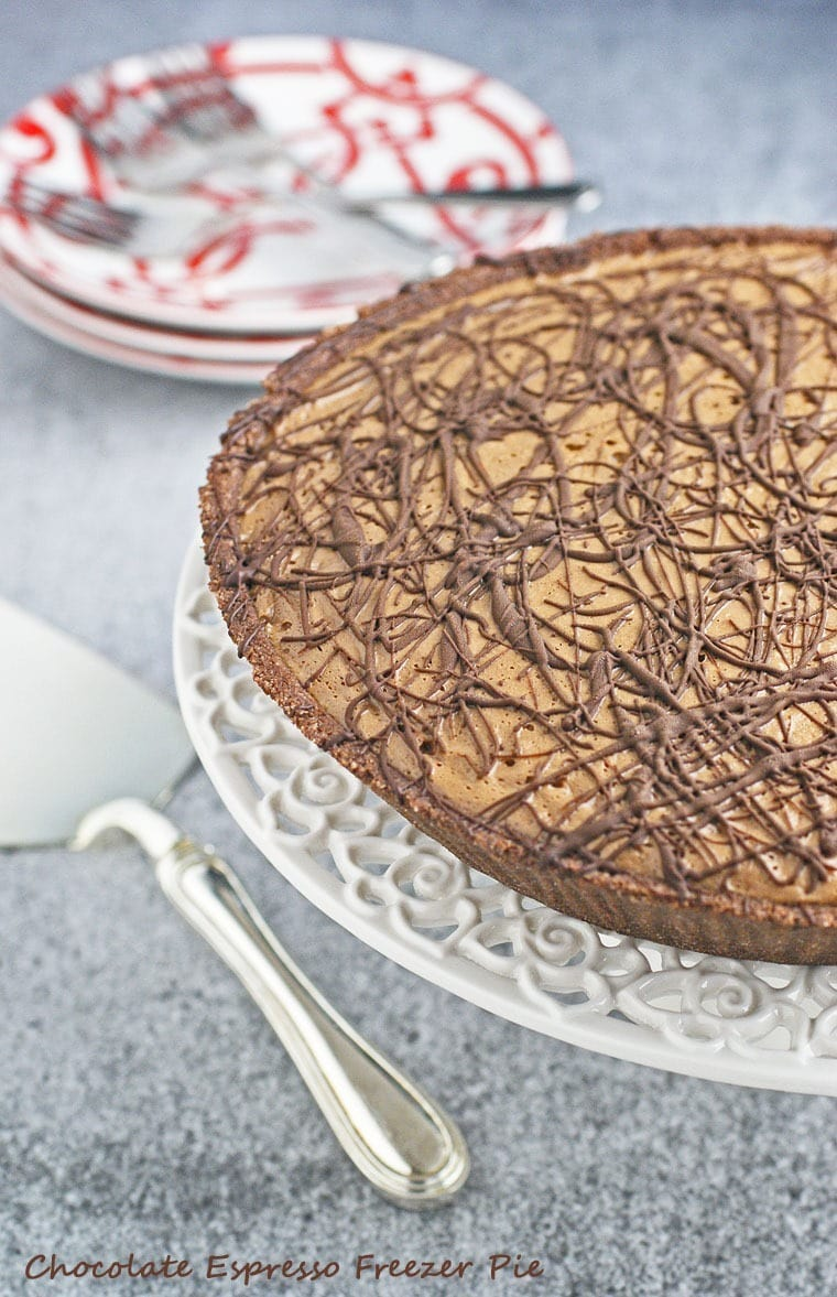 Chocolate Espresso Freezer Pie. Get this vegan, dairy free and gluten free recipe at This Mama Cooks! On a Diet