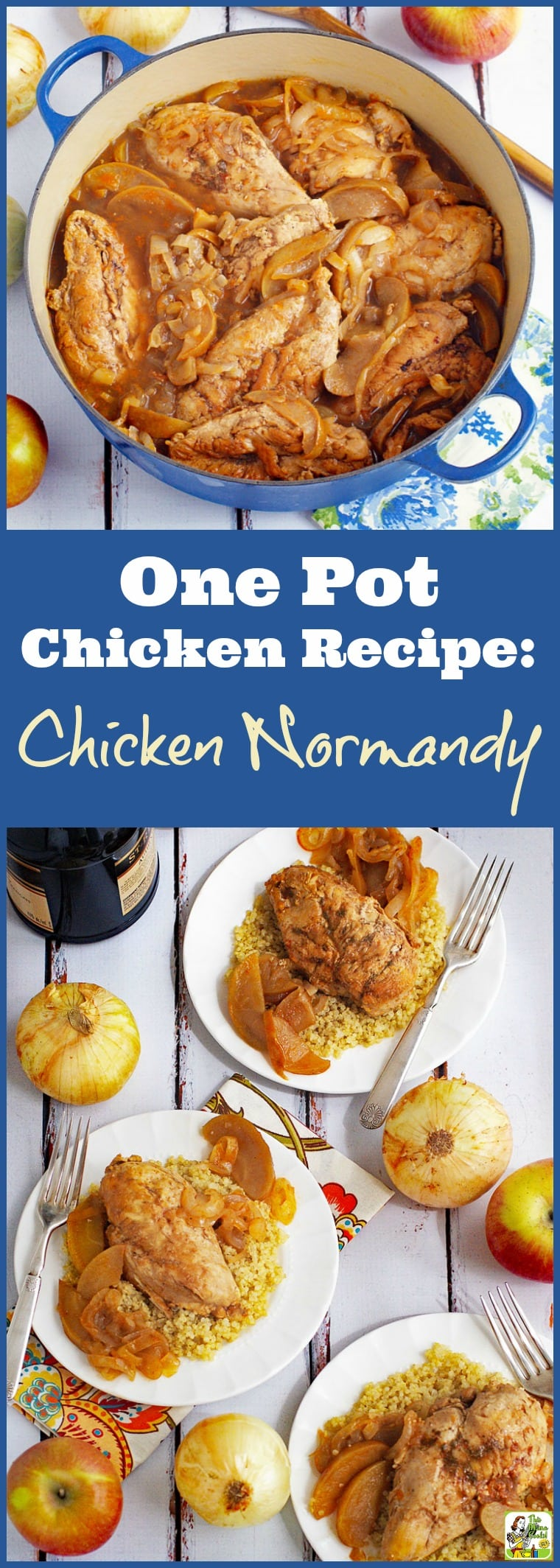 Chicken Normandy à la Marie-Celine. This easy one pot chicken recipe is made with apples, onions, and brandy. Serve on rice, quinoa, gluten free noodles, or wild rice. Naturally gluten-free. #recipes #easy #recipeoftheday #glutenfree #easyrecipe #easyrecipes #glutenfreerecipes #dinner #easydinner #dinnerrecipes #dinnerideas #chicken #chickenfoodrecipes #chickenrecipes