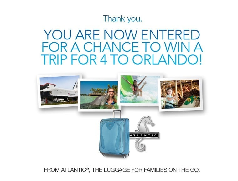 Win a Trip to Orlando Florida from Atlantic Luggage. Learn how at This Mama Cooks! On a Diet