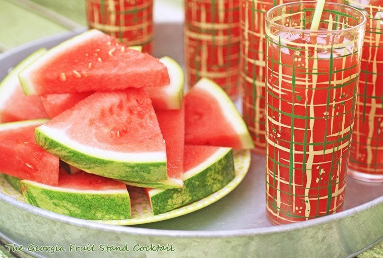 The Georgia Fruit Stand Cocktail–a watermelon drink with peach whiskey & lime. Get the recipe at This Mama Cooks! On a Diet