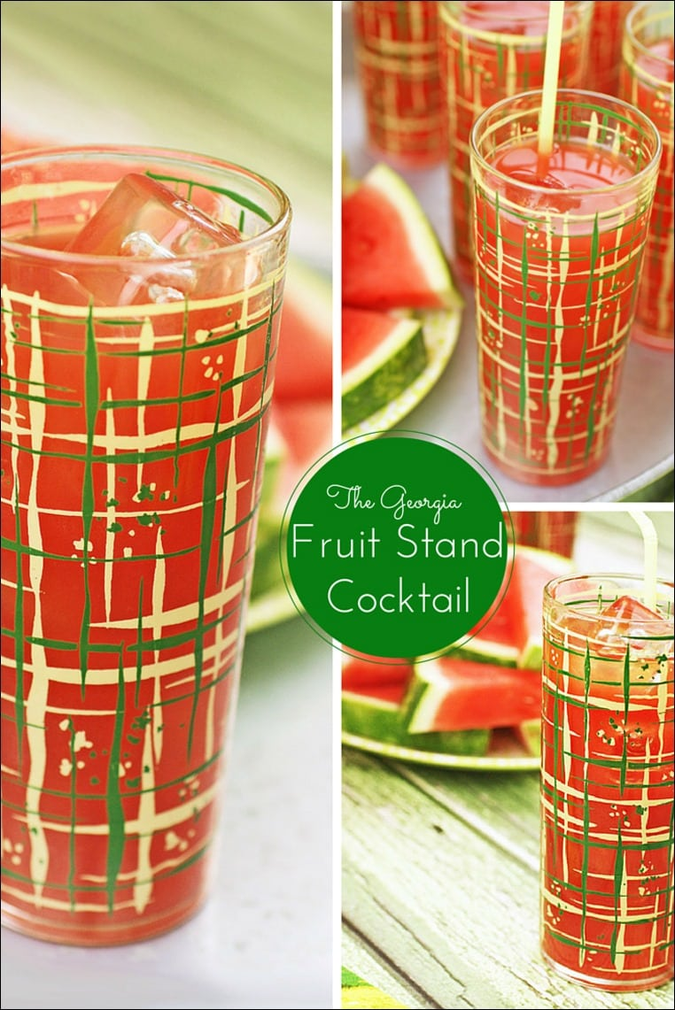Looking for a refreshing summertime watermelon cocktail? Try the Georgia Fruit Stand Cocktail, a watermelon drink made with peach whiskey, peach bitters, and lime. Get the recipe at This Mama Cooks! On a Diet