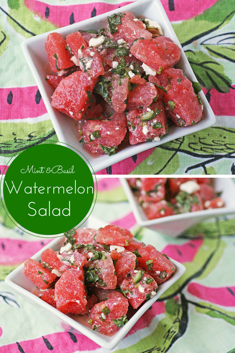 ... Mint & Basil Watermelon Salad . Watermelon so goes well with mint and