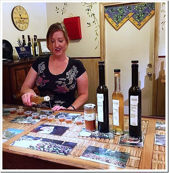 Olive oil tasting at the Temecula Olive Oil Company. Click to get more travel tips on Old Town Temecula Valley California.