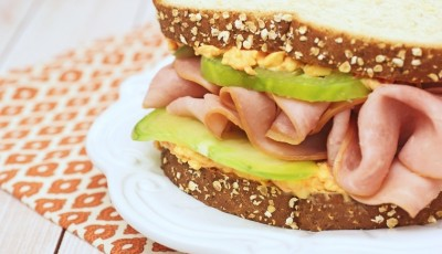 Ham & Pimento Cheese Sandwich with Green Heirloom Tomatoes