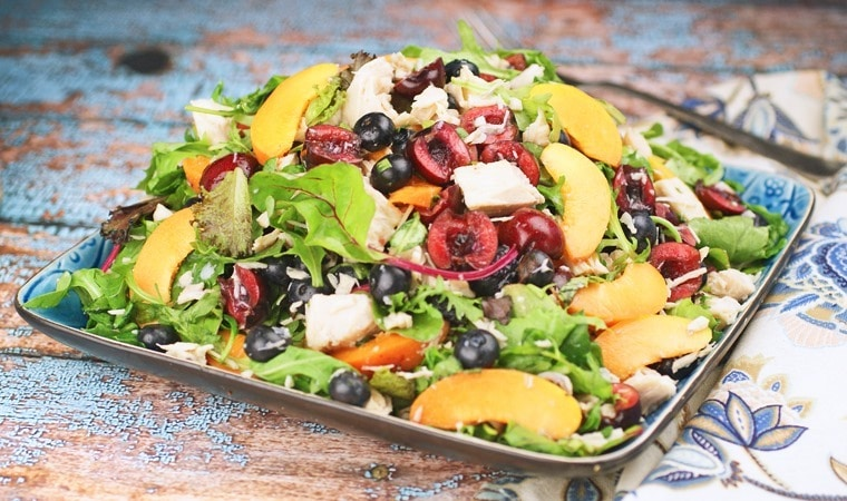 Chicken Salad with Blueberries, Cherries & Apricots. Get the recipe at This Mama Cooks! On a Diet