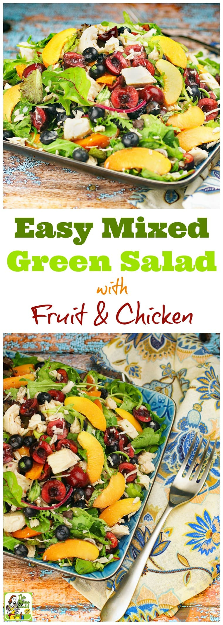 Too hot to cook? This Easy Mixed Green Salad with Fruit & Chicken recipe makes a satisfying weeknight meal. There's no cooking since it uses canned chicken breast. Click to get this healthy salad recipe that takes under 20 minutes to make, is easy to prepare, and uses seasonal fruits and vegetables, too.