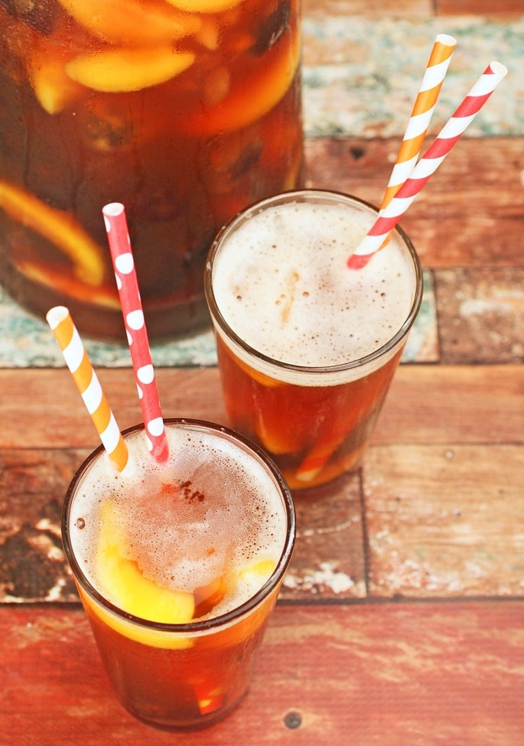 Sugar free Ice Tea Sangria with peach and cherries. Get the recipe at This Mama Cooks! On a Diet