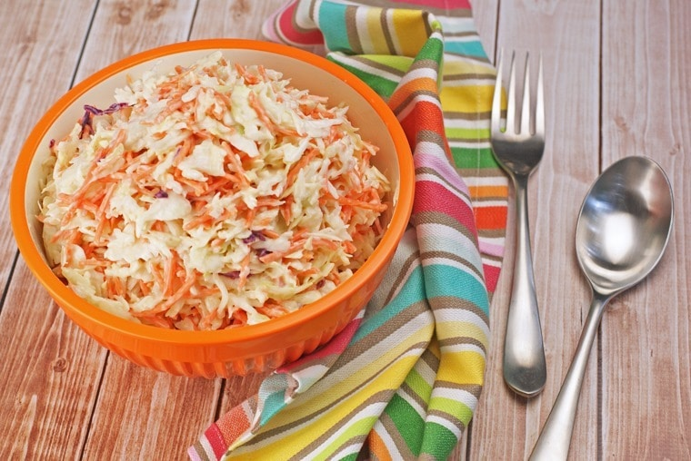 Need a quick and easy sidedish recipe for a cokout, picnic or barbecue party. Try this recipe for Spicy Chipotle Carrot Coleslaw at This Mama Cooks! On a Diet (#sposnored #FireUpTheGrill)