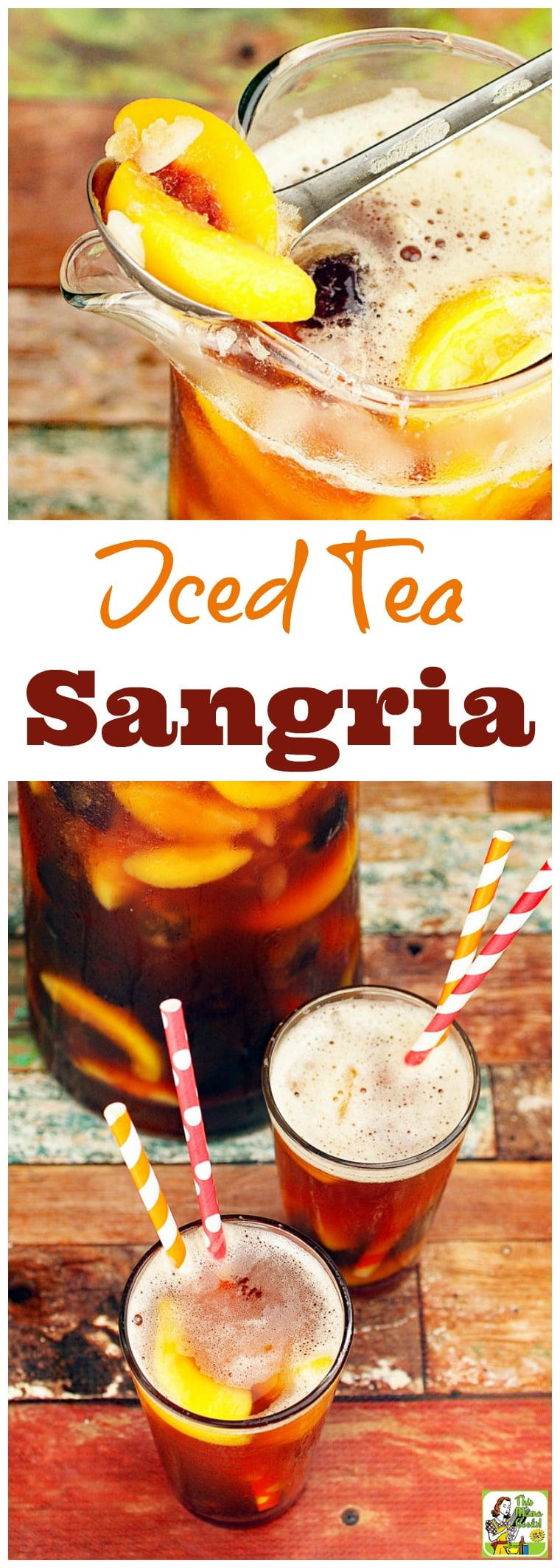 Are you looking for an easy, healthy iced tea drink? Or a party mocktail drink that's low calorie? Click to get this Iced Tea Sangria recipe. It's low calorie and is made with frozen, sliced fruit and no-calorie, natural sweetener.