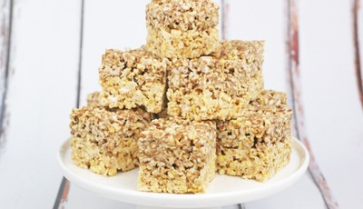 Gluten Free Caramel & Chocolate Rice Crispie Treats