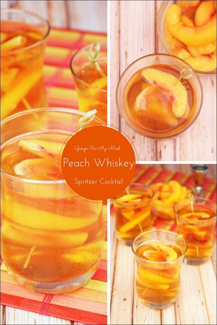 Need a low calorie spritzer cocktail for your next party? Try my Georgia On My Mind Peach Whiskey Spritzer Cocktail. Get the recipe at This Mama Cooks! On a Diet