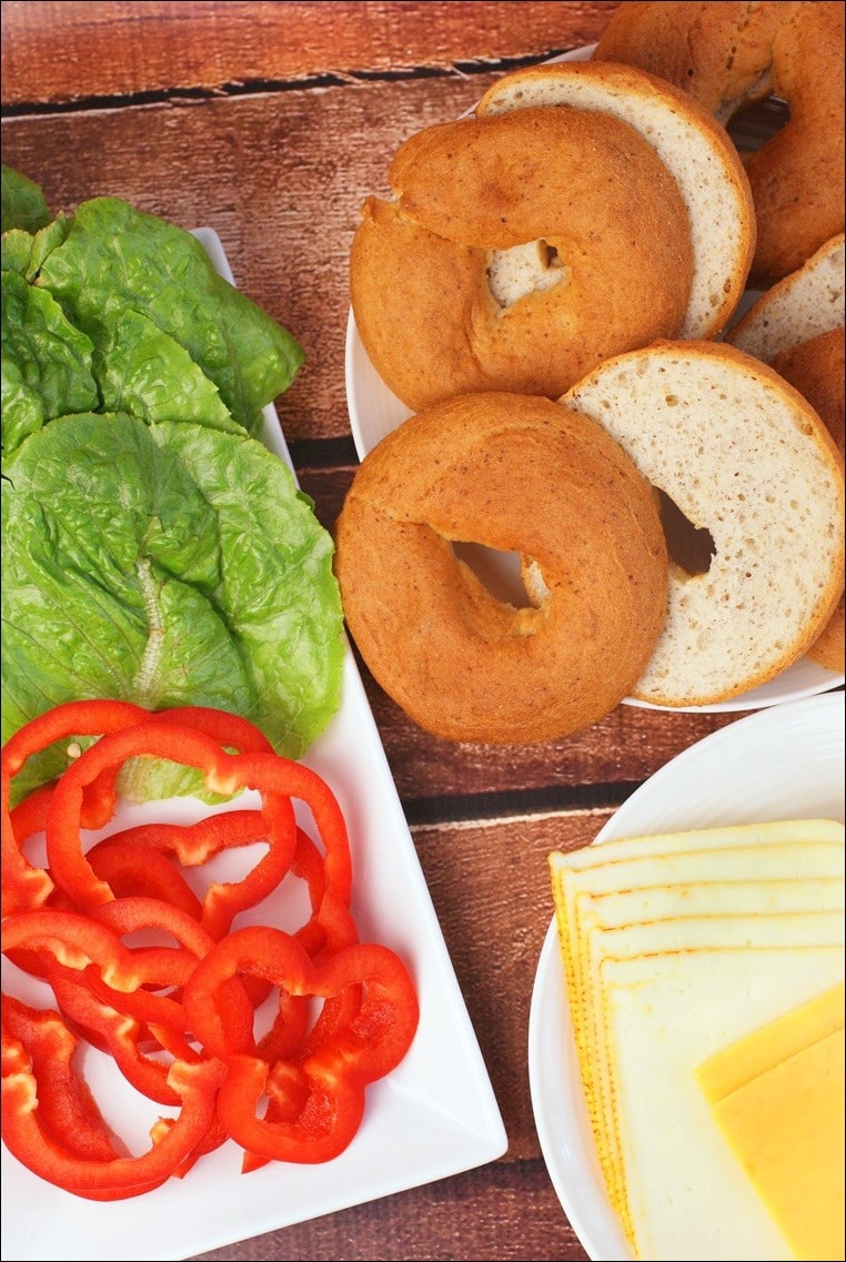 Just some of the fixings you can use when making Gluten Free Miso Glazed Hamburgers with Bagel Buns. Get the gluten free burger recipe at This Mama Cooks! On a Diet