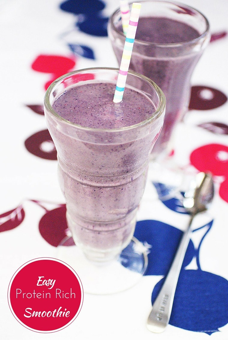 Get the recipe for an Easy Protein Rich Smoothie made with Orgain Organic Protein Powder at This Mama Cooks! On a Diet