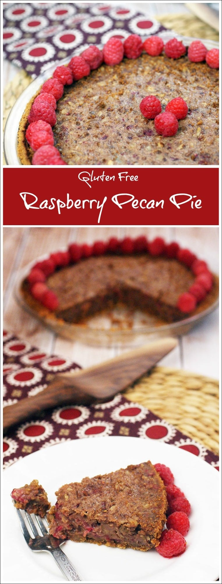 Need a gluten free dessert recipe? Try this Gluten Free Raspberry Pecan Pie. It's the perfect dessert for Thanksgiving, Christmas or holiday entertaining. Get the easy recipe including a homemade gluten free cookie pie crust recipe at This Mama Cooks! On a Diet