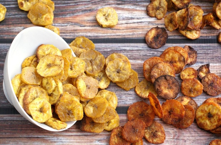Looking for a healthy snack recipe? Try these Healthy Baked Plantain Chips Four Ways! Get this easy party entertaining recipe at This Mama Cooks! On a Diet
