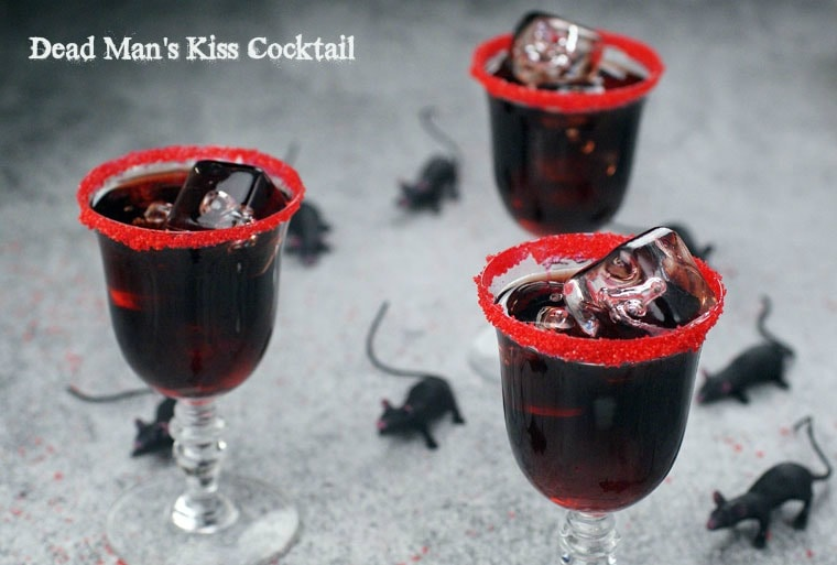 Dead Man's Kiss–a black vodka cocktail for Halloween. Get the recipe at This Mama Cooks! On a Diet