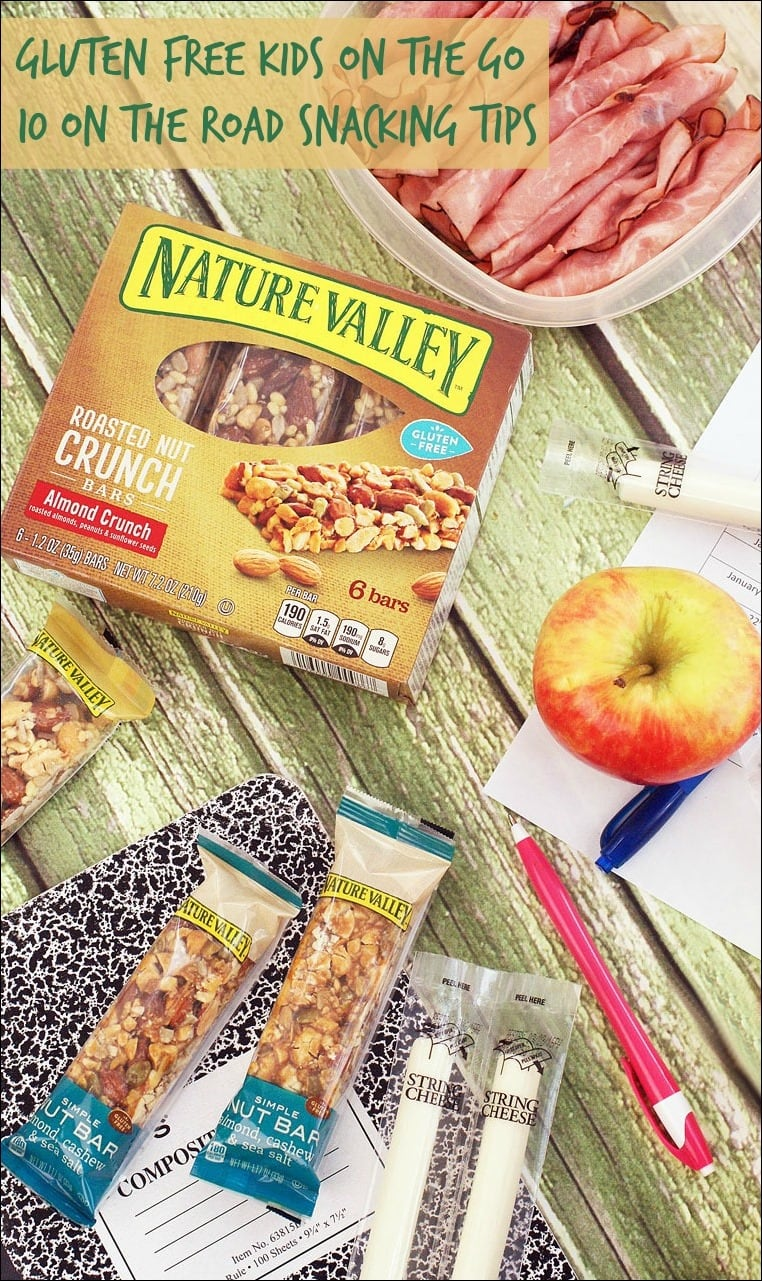 Gluten free kids on the go with Nature Valley Bars. Get 10 On the Road Snacking Tips for gluten free kids and families at This Mama Cooks! On a Diet