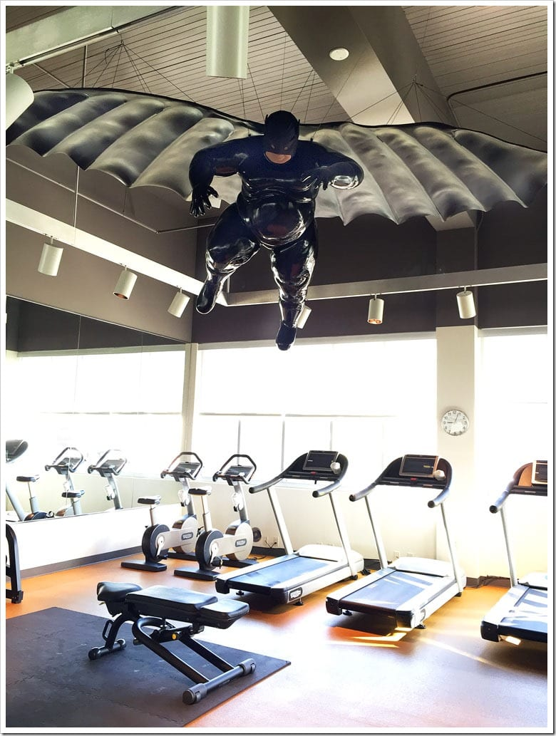 The fat Batman in the workout room at the 21c Museum Hotel in Bentonville, Arkansas.