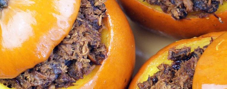 Slow Cooker Cranberry Pulled Pork in Sugar Pumpkins